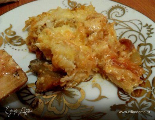 Запеченные овощи под картофельно-сырной корочкой