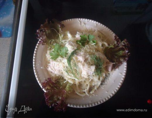 Спагетти в сливочном соусе