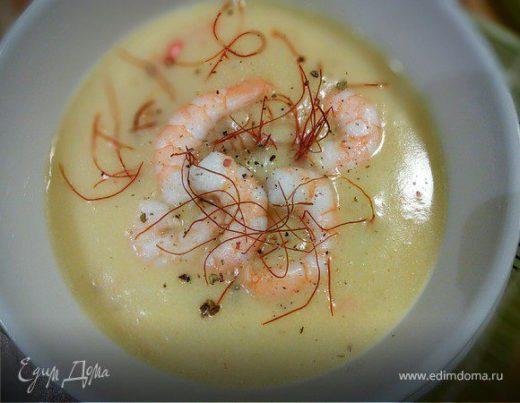 Картофельный крем-суп с креветками