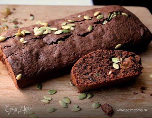 Гречишный кекс с шоколадом, изюмом и тыквенными семечками