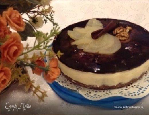 Шоколадный пирог с грушей и панна котой