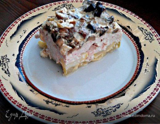 Куриная запеканка с грибами и кабачками