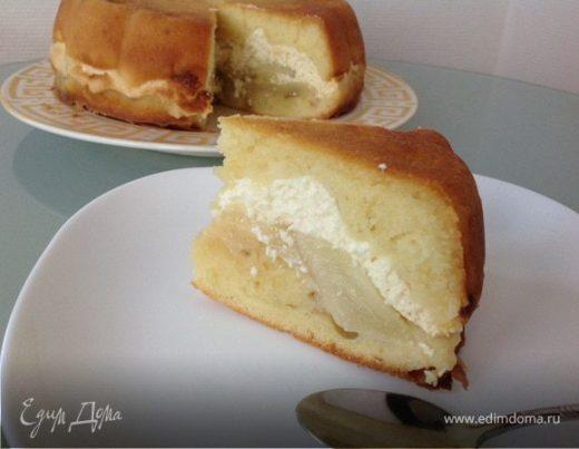 Пирог с творогом и грушами