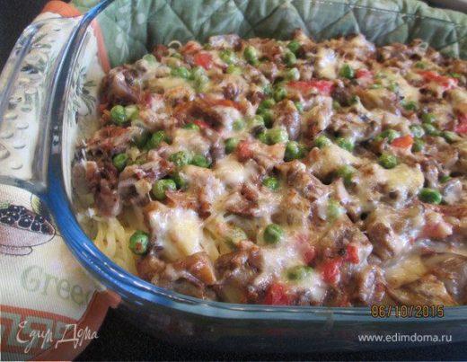 Мясная запеканка с овощами и спагетти