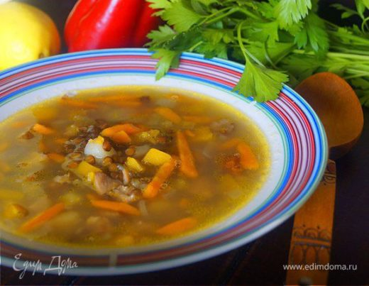 Тыквенный суп с копченой курочкой