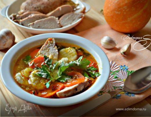 Куриный суп с тыквой и картофельными ньокками