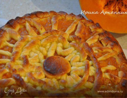 Дрожжевой пирог с тыквенным пюре и яблочным вареньем