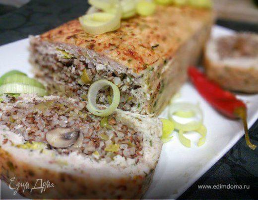 Гречневая каша с шампиньонами в мясном хлебце