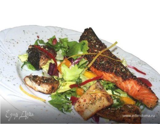 Рыбное филе на гриле с салатом