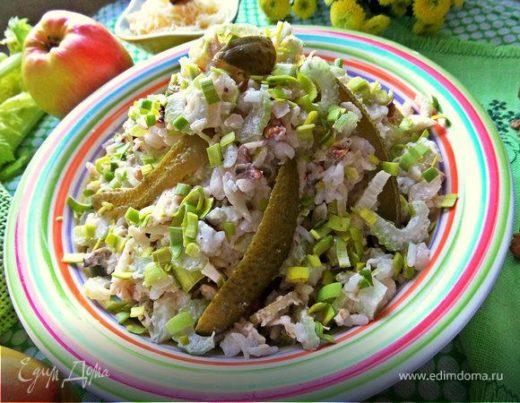 Сырно-овощной салат с рисом