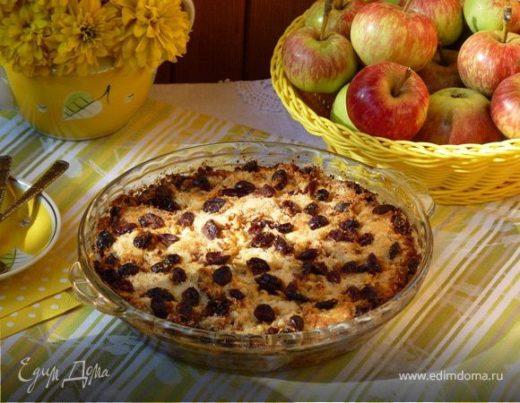 «Сухой» яблочный пирог с корицей и вяленной клюквой