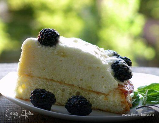 Бисквитный торт с ежевикой и мятным кремом шибуст
