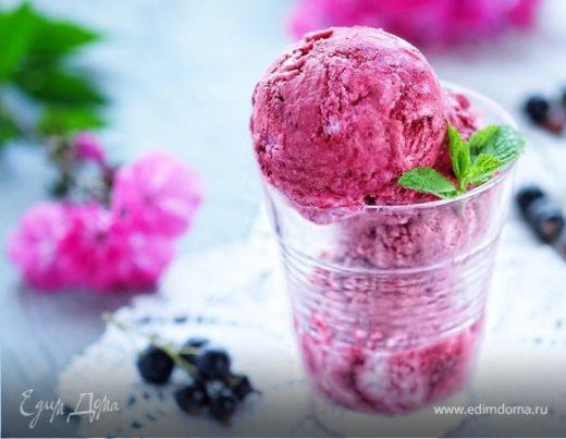 Сливочно-черносмородиновое мороженое