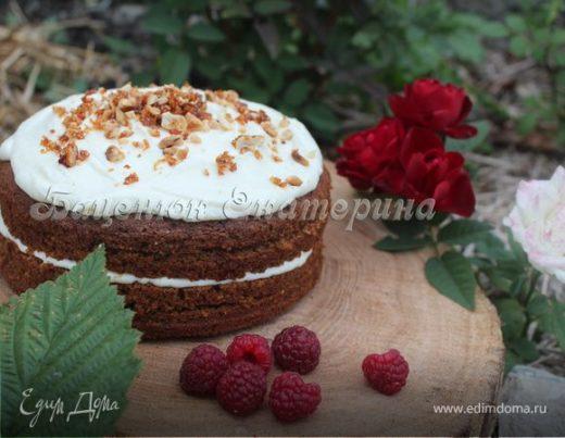 Арахисовый «Чудо-торт» с малиной и соленой карамелью